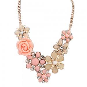 """Pink Bohemian Flower Statement Necklace 50cm x 5cm (19.5""""x1.75"""") - 70/Lot"""