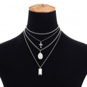 Silver Multi-Layer Religious Necklace - 100/Lot