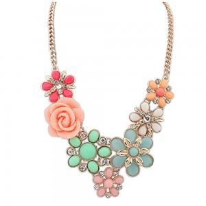 """Multi Color Bohemian Flower Statement Necklace 50cm x 5cm (19.5""""x1.75"""") - 70/Lot"""