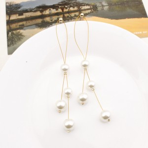 "White Imitation Pearl Drop Earrings 10cm (3.75"") - 200/Lot"
