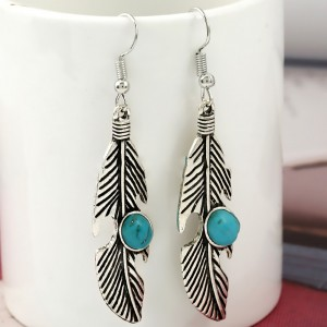 Silver Feather-Shaped Leaf Drop Earrings - 200/Lot