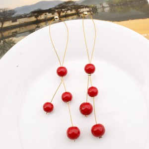 "Red Imitation Pearl Drop Earrings 10cm (3.75"") - 200/Lot"