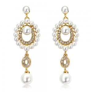 Gold Round Pearl Chandelier Earrings - 100/Lot