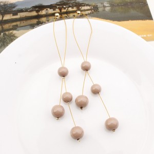 "Nude Imitation Pearl Drop Earrings 10cm (3.75"") - 200/Lot"
