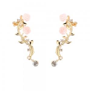 Gold Rose Vine Crawler Earrings - 90/Lot