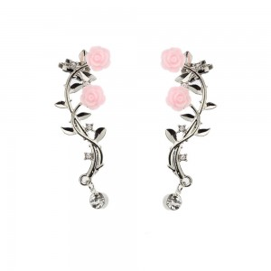 Silver Rose Vine Crawler Earrings - 90/Lot