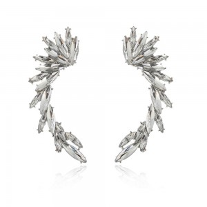 "Silver Feathered Crawler Earrings 6.8cm x 2cm (2.5"" x 0.75"") - 100/Lot"