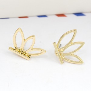 Gold Hollow Lotus Jacket Earrings - 200/Lot