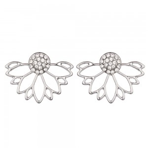 "Silver Diamond Hollow Lotus Jacket Earrings 2.5cm x 1.8cm (0.75"" x 0.5"") - 100/Lot"
