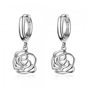 """Silver Rose Leverback Earrings 2.6cm (1"""") - 70/Lot"""