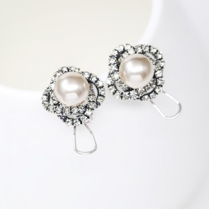 "Gold Pearl Royal Spiral Flower Omegaback Earrings 1.8cm (0.5"") - 60/Lot"