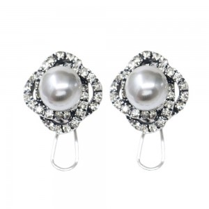 "Silver Pearl Royal Spiral Flower Omegaback Earrings 1.8cm (0.5"") - 60/Lot"