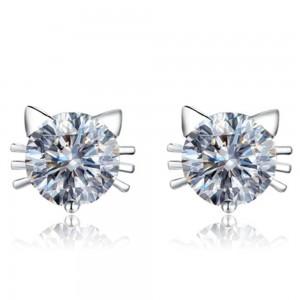 Silver Kitten Stud Earrings - 200/Lot