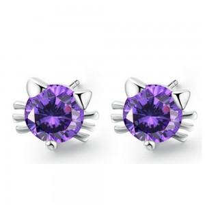 Purple Kitten Stud Earrings - 200/Lot
