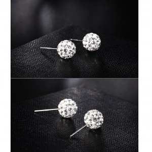 "Silver Rhinestone Ball Stud Earrings 2cm (0.75"") - 200/Lot"