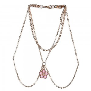 "Gold Multi-Layered Flower Arm Body Chain Jewelry 25cm+11cm+20cm (9.75""+4.25""+7.75"") - 100/Lot"