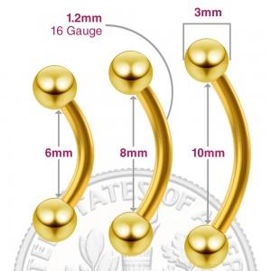 "Gold Barbell Eyebrow Piercing Jewelry 0.12cm x 0.8cm (0.04"" x 0.3"") - 300/Lot"