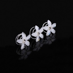 "Silver Bridal Flower Spiral Hair Accessory 2cm (0.75"") - 500/Lot"