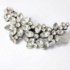 Silver Flower Barrett Hair Pin Accessory - 100/Lot