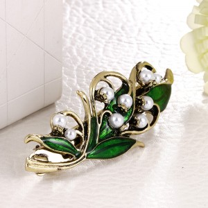 Green Flower Leaf Barrett Hair Pin Accessory - 100/Lot