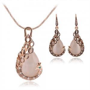 Gold Phoenix Necklace Earrings Two-Piece Set - 100/Lot