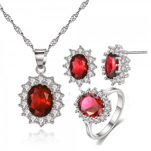 Red Gemstone Necklace Earrings Ring Three-Piece Set - 50/Lot