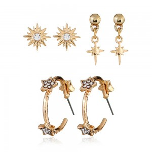 Gold Sun-Studded Flower Earrings Three-Piece Set - 100/Lot