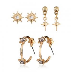 Gold Sun-Studded Flower Earrings Three-Piece Set - 100/Lot