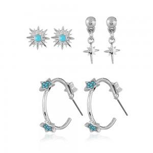 Silver Sun-Studded Flower Earrings Three-Piece Set - 100/Lot