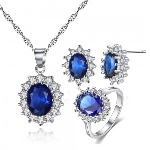 Blue Gemstone Necklace Earrings Ring Three-Piece Set - 50/Lot