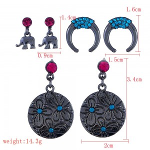 Black C-Shaped Elephant Round Earrings Three-Piece Set - 100/Lot