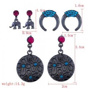 Black C-Shaped Elephant Round Earrings Three-Piece Set - 100/Lot