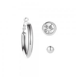 Silver Hoop Earrings Three-Piece Set - 100/Lot