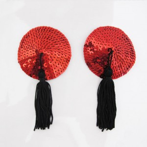 Red Circular Sequin with Red Tassel Nipple Cover (100 Pasties/Lot)