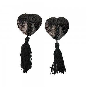 Black Heart-Shaped Sequin with Black Tassel Nipple Cover (100 Pasties/Lot)