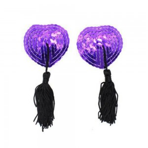 Purple Heart-Shaped Sequin with Black Tassel Nipple Cover (100 Pasties/Lot)
