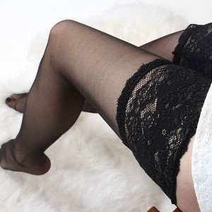 Women's Black Core-Spun Wire Lace Top Thigh High Stockings (100 Stocking/Lot)