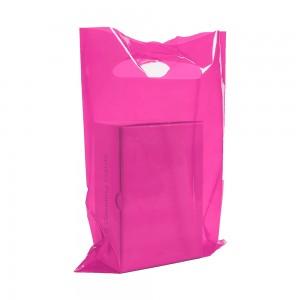 "Glossy Pink Reusable Flat Die Cut Handle Bags 35 cm x 45 cm (13.5"" x 17.5"") (400 Bags/Lot)"