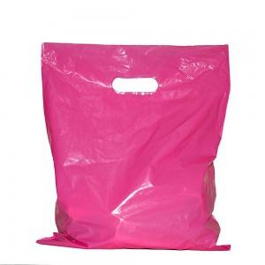 "Glossy Pink Reusable Flat Die Cut Handle Bags 45 cm x 55 cm (17.5"" x 21.5"") (300 Bags/Lot)"