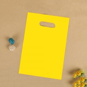 "Glossy Yellow Reusable Flat Die Cut Handle Bags 25 cm x 35 cm (9.75"" x 13.5"") (700 Bags/Lot)"