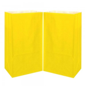 "Matte Yellow Kraft Paper Merchandise (Lunch/Favor) Bags 13 cm x 8 cm x 24 cm (5"" x 3"" x 9.25"") (900 Bags/Lot)"