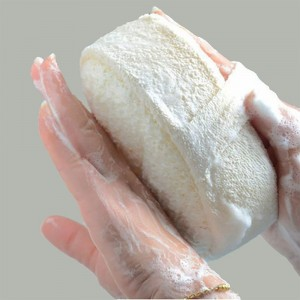 White Loofah Sponge with Grip Strap [100PCS/Lot]