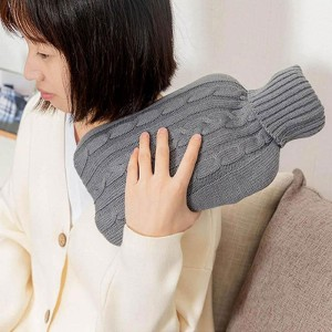 Grey Hot Water Bottle with Soft Cover Pouch [80 PCS/Lot]