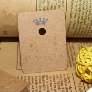 Crown Design Beige Earring Display Card with Hang Hole (1.25 inches x 1.75 inches) [2630 Cards/Lot]