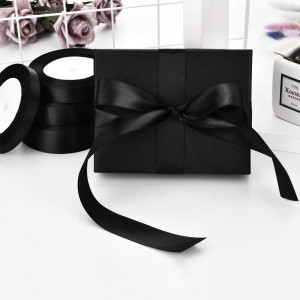 """Smooth Black Polyester Ribbon for Flower Wrapping Florist Size #3 (5/8"""" x 25 Yards) [200 Rolls/Lot]"""
