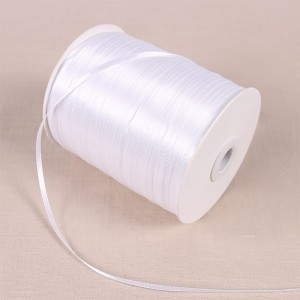 """Smooth White Polyester Ribbon for Gift Packaging (1/8"""" x 85 Yards) [15 Rolls/Lot]"""