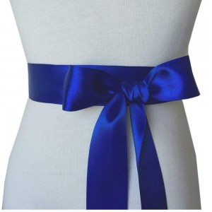 """Smooth Blue Polyester Ribbon for DIY Bows (2"""" x 25 Yards) [60 Rolls/Lot]"""