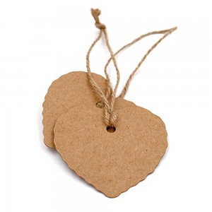 Brown Kraft Heart Tags for Rustic Style Wedding Favors (2 inches x 2 inches) [1560 Tags/Lot]