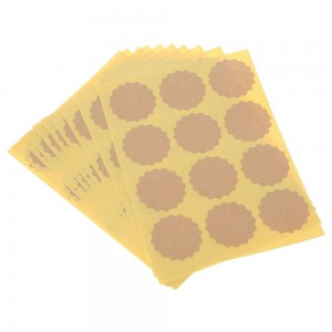 Scalloped Design Brown Kraft Sticker Sheets for Gift Packaging (1.25 inches x 1.25 inches) [1200 Labels/Lot]
