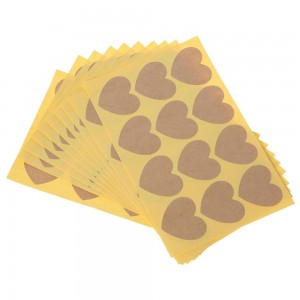 Sheets of Brown Heart Kraft Stickers for Cookie Packaging (1.25 inches x 1.25 inches) [1200 Labels/Lot]